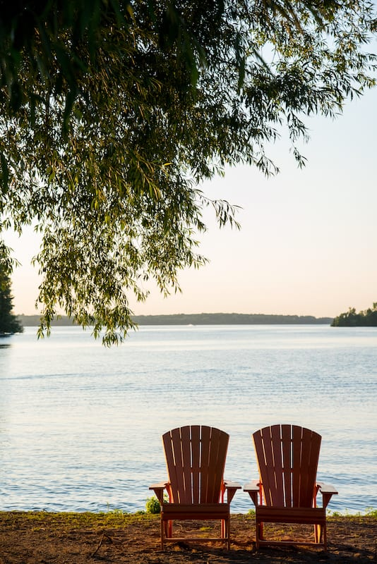 Muskoka Chairs on the beach at Fern Resort
