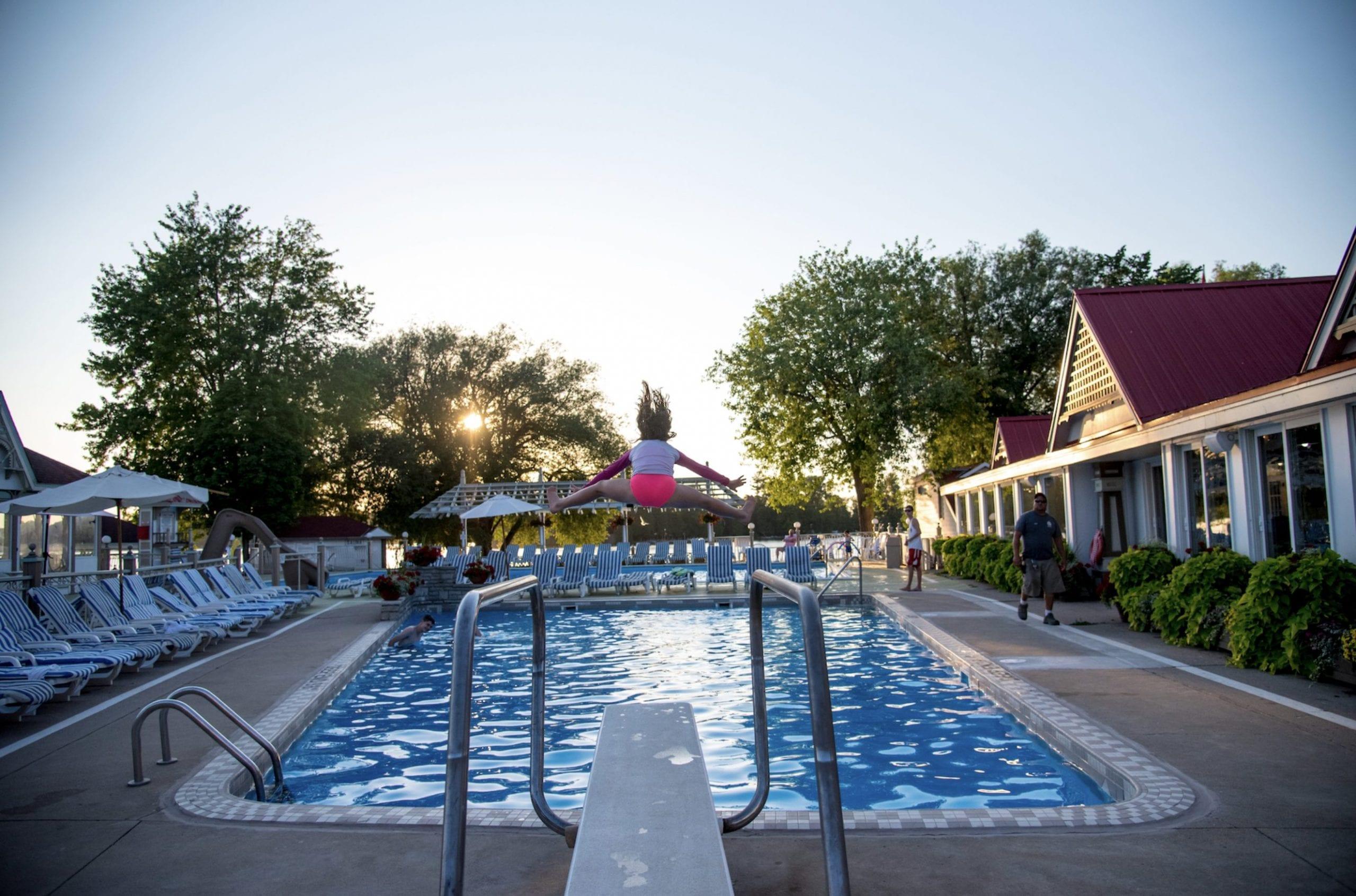Fern Resort Pool Deck At Sunset
