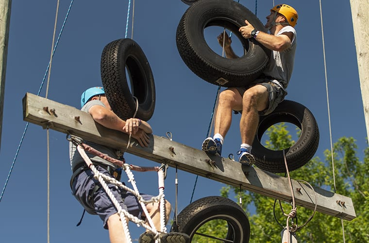 2 Men Climbing The Rope & Tire Challenge