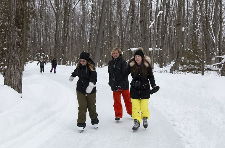 Group Of Women Skating On The Wooded Trail