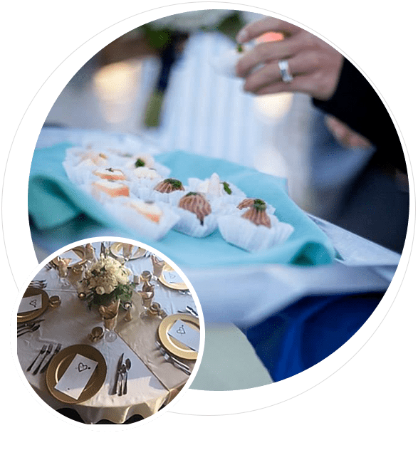 Closeup of hors d'oeuvres and table setting