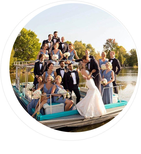 Photo of wedding party on Fern boat
